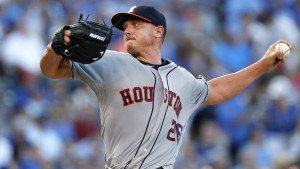 Houston Astros pitcher Scott Kazmir throws in the first inning of a baseball game against the Kansas City Royals in Kansas City, Mo., Friday, July 24, 2015. (AP Photo/Colin E. Braley)